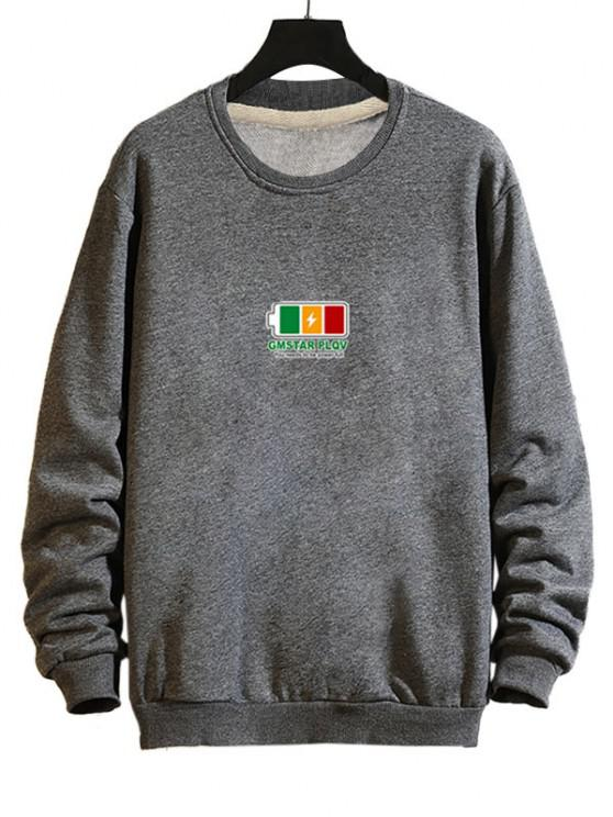 hot Full Battery Graphic Drop Shoulder Casual Sweatshirt - GRAY XL
