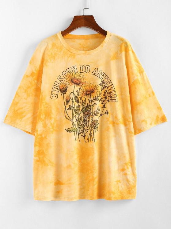 ZAFUL Sunflower Slogan Tie Dye Drop Shoulder T-shirt - الأصفر S