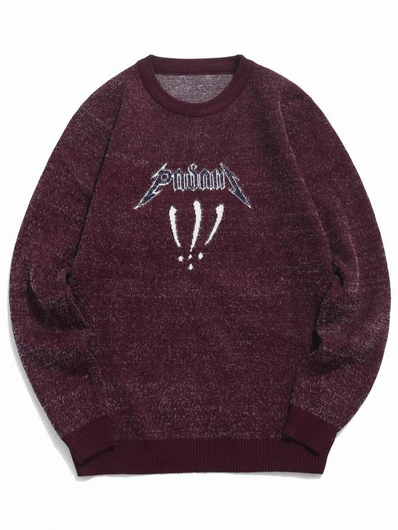 affordable Fuzzy Crew Neck Graphic Sweater - RED WINE XS