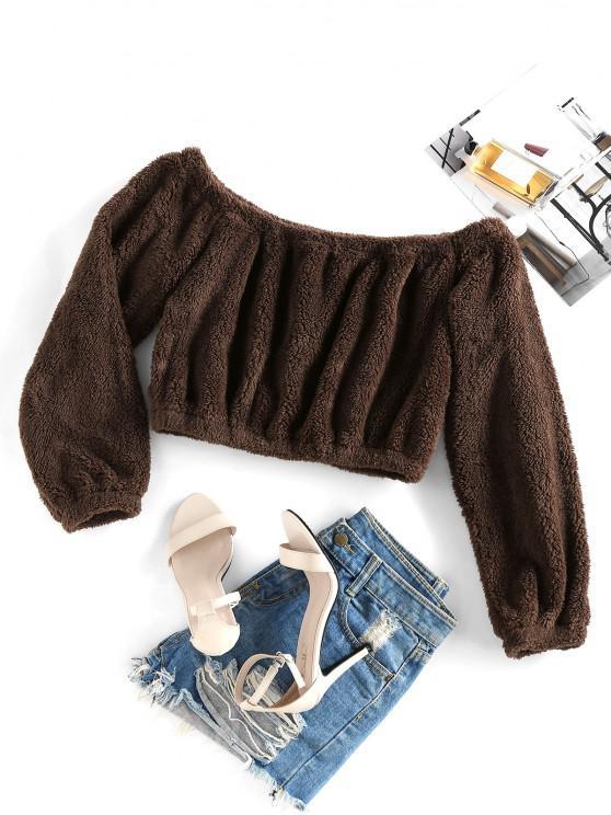 buy ZAFUL Off Shoulder Plush Crop Sweatshirt - TAN M
