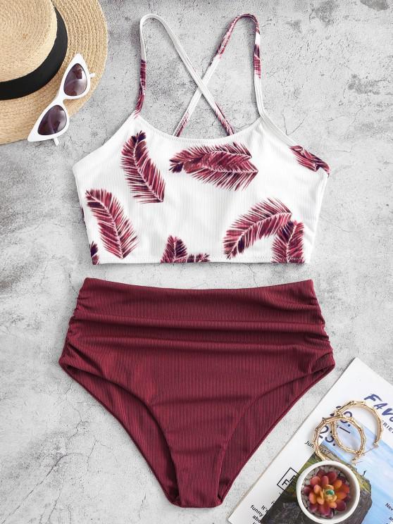 ZAFUL Ribbed Criss Cross Leaves Print Tankini Swimwear - أحمر عميق M