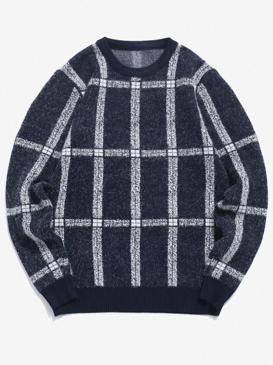 Karierter Gerippter Trim Pullover - Kadettenblau XS