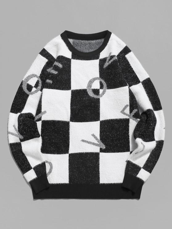 ladies Fuzzy Letter Graphic Checkered Sweater - BLACK S