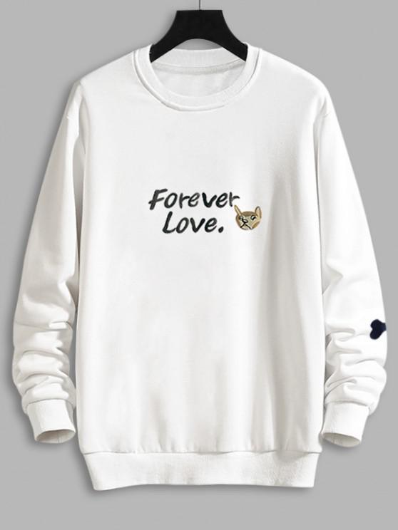 Casual Dog Graphic Drop Shoulder Sweatshirt - أبيض 2XL