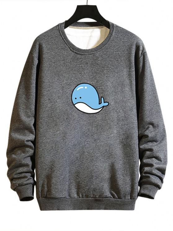 outfits Cartoon Whale Graphic Casual Drop Shoulder Sweatshirt - GRAY S