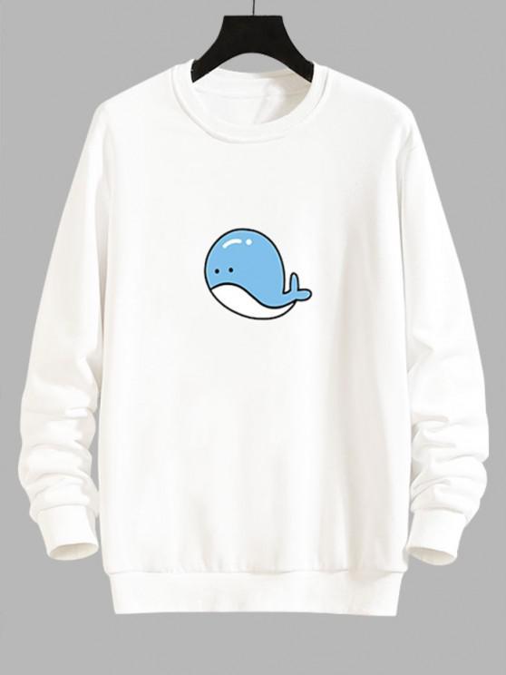 Cartoon Whale Graphic Casual Drop Shoulder Sweatshirt - أبيض L