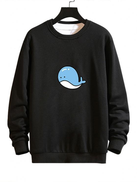 Cartoon Whale Graphic Casual Drop Shoulder Sweatshirt - أسود S
