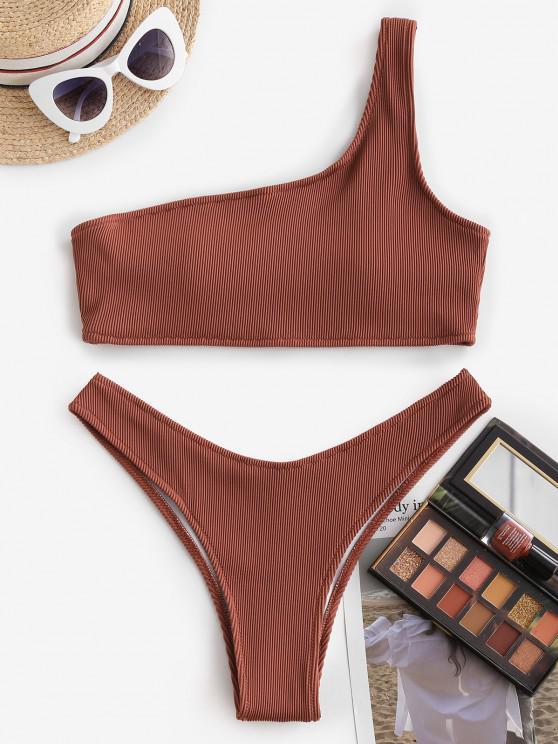 unique ZAFUL One Shoulder Textured Ribbed Bikini Swimwear - DEEP RED M