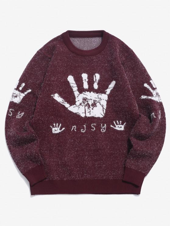 Hand Graphic Fuzzy Ribbed Trim Jumper Sweater - نبيذ احمر XS