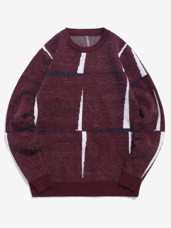 Camisola suéter gola redonda com marcas gráficas - Vinho Tinto S
