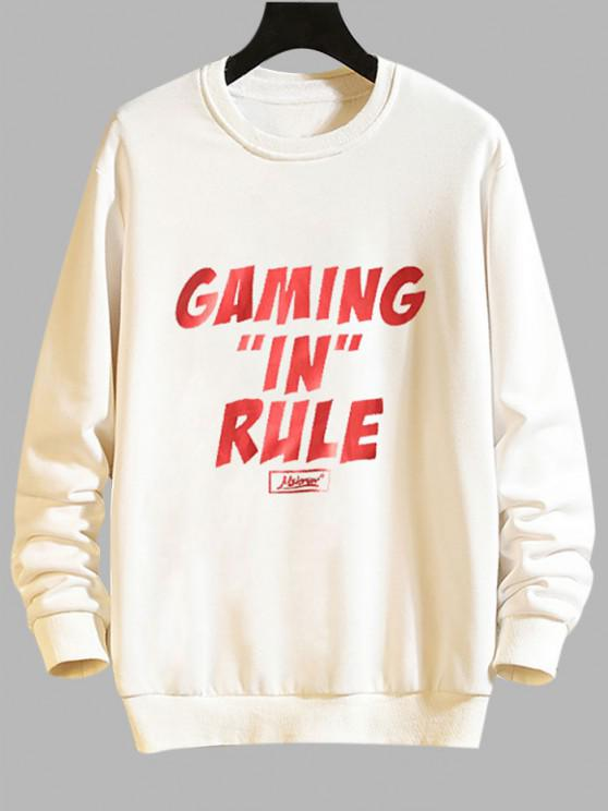 Gaming In Rule Graphic Crew Neck Casual Sweatshirt - أبيض S