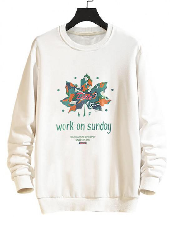Maple Leaf Graphic Drop Shoulder Casual Sweatshirt - أبيض M