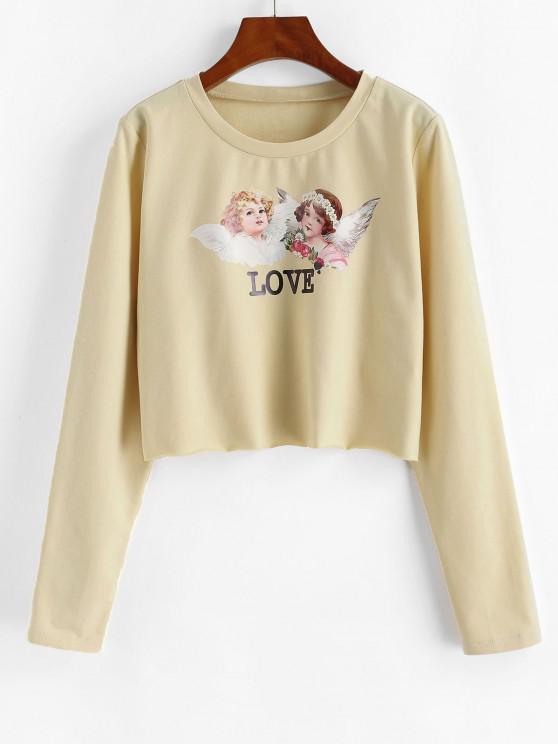 ZAFUL Cropped Renaissance Angle Print Sweatshirt - مشمش S