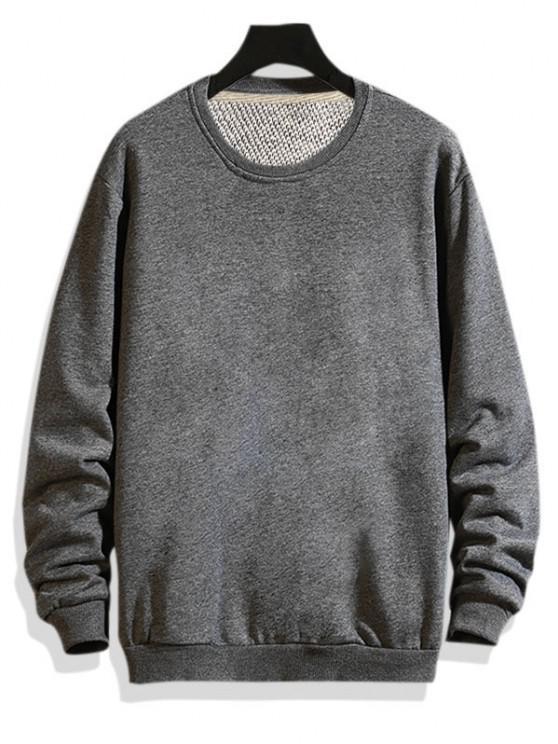 fancy Pure Color Drop Shoulder Crew Neck Sweatshirt - GRAY 2XL