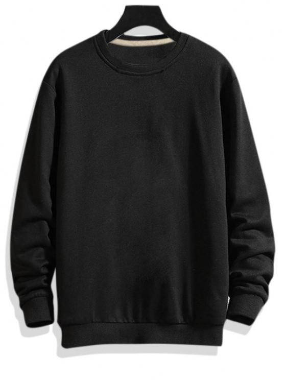 Pure Color Drop Shoulder Crew Neck Sweatshirt - أسود XS