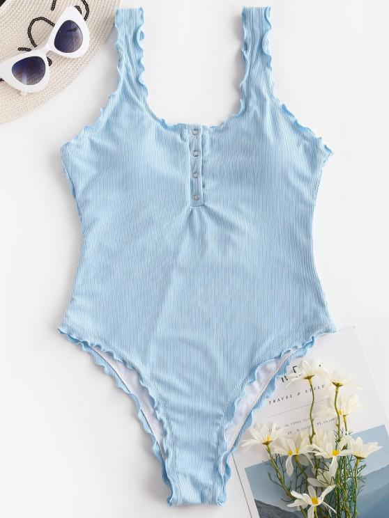 outfits ZAFUL Ribbed Snap Button Backless One-piece Swimsuit - LIGHT BLUE L