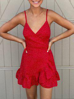ZAFUL Ditsy Dot Cami Flounce Wrap Dress - Red S