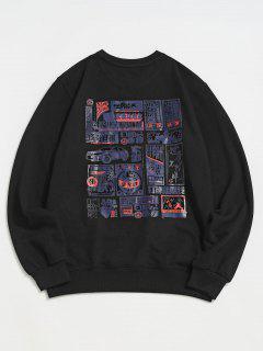 Hanzi Graphic Print Rib-knit Trim Sweatshirt - Black 2xl