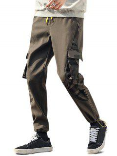 Camouflage Letter Print Toggle Cuff Cargo Pants - Army Green Xs