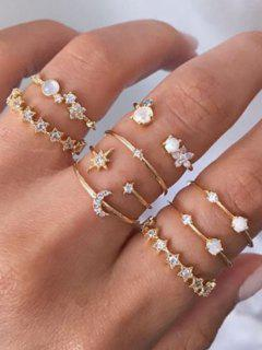 9Pcs Stars Moon Rhinestone Rings Set - Golden