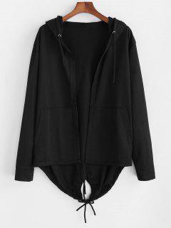 Hooded Front Pocket Dovetail Jacket - Black 3xl