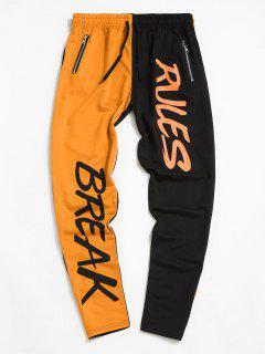 Pantalones Con Bolsillo Y Estampado De Árbol De Color Bloque - Naranja S