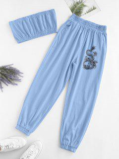 ZAFUL Two Piece Dragon Oriental Bandeau Top Set - Blue L