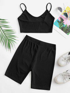 Two Piece Ribbed Cropped Biker Shorts Set - Black S