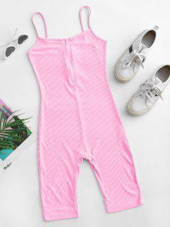Cami Half Zip Ribbed Unitard Romper - Light Pink M