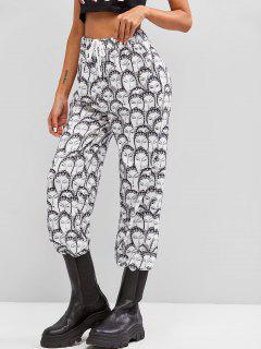 ZAFUL High Waisted Peking Opera Face Print Pants - White S