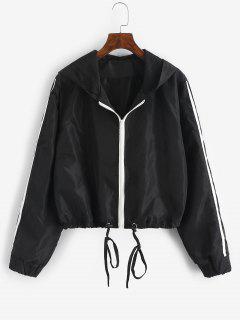 Hooded Side Striped Mesh Lining Windbreaker Jacket - Black L