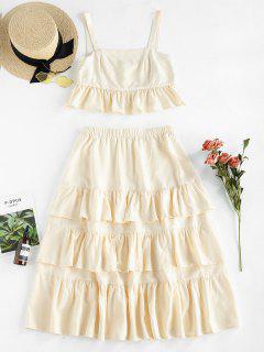 ZAFUL Tiered Ruffle Two Piece Dress - Apricot M
