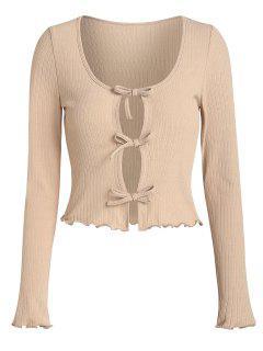 ZAFUL Rib Knit Front Tie Cropped T Shirt - Brown Sugar Xl