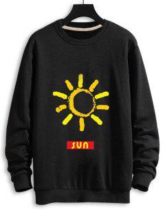 Sweatshirt Décontracté Graphique Soleil à Goutte Epaule - Noir 2xl