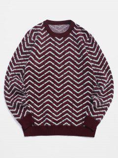 Maglione Peloso A Girocollo Con Motivo A Chevron - Vino Rosso Xs