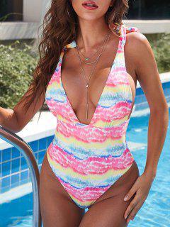 ZAFUL Tie Dye Ribbed Self-tie High Cut One-piece Swimsuit - Light Pink L