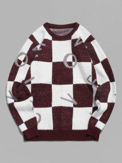 Fuzzy Letter Graphic Checkered Sweater - Red Wine M