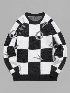 Fuzzy Letter Graphic Checkered Sweater - Black Xs