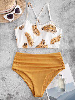 ZAFUL Ribbed Criss Cross Leaves Print Tankini Swimwear - Deep Yellow M