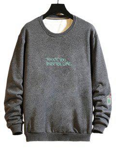 Mock Embroidery Graphic Drop Shoulder Casual Sweatshirt - Gray M