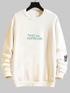 Mock Embroidery Graphic Drop Shoulder Casual Sweatshirt - White M