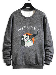Sweat-shirt Graphique Dessin Animé Amusant Imprimé - Gris Xs