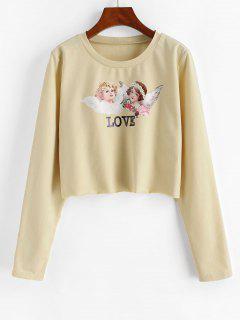 ZAFUL Cropped Renaissance Angle Print Sweatshirt - Apricot M