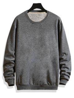 Pure Color Drop Shoulder Crew Neck Sweatshirt - Gray S