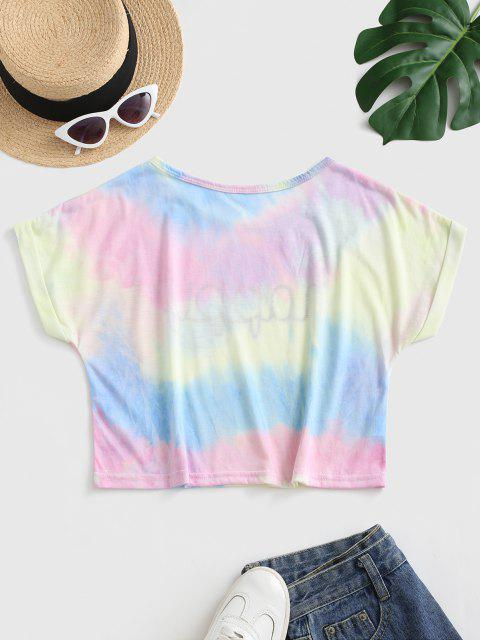 Maglietta Grafica di Tie-Dye con Maniche a Sbuffo - Multi Colori-A S Mobile