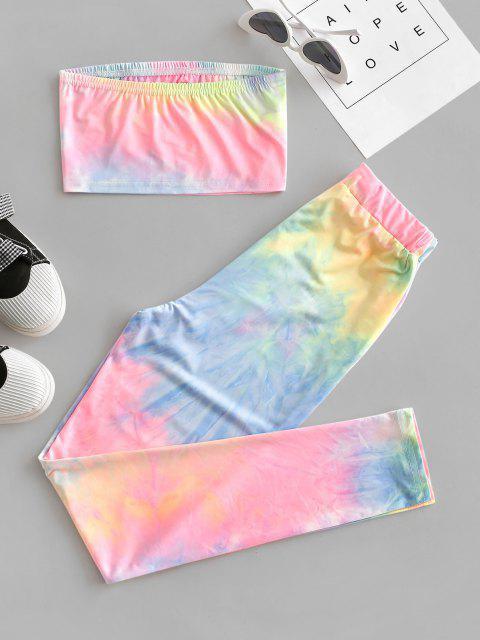trendy Tie Dye Bandeau Drawstring Two Piece Set - MULTI S Mobile