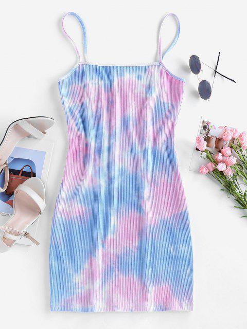 women's ZAFUL Ribbed Tie Dye Mini Bodycon Dress - MULTI-A M Mobile
