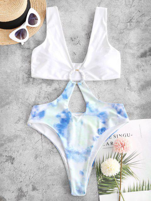 latest ZAFUL Tie Dye O-ring Trikini Monokini Swimsuit - WHITE S Mobile