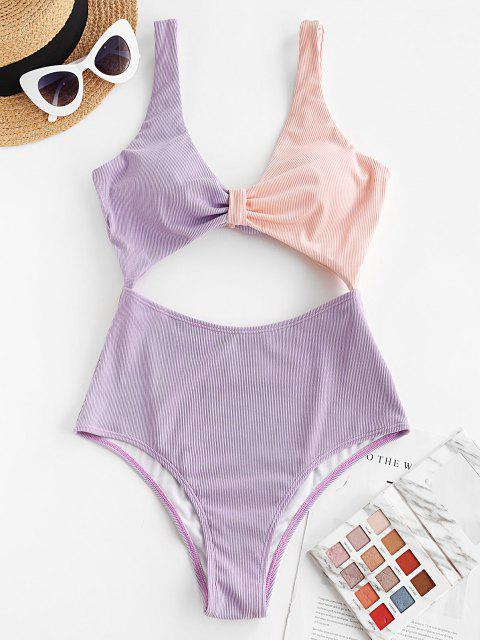 online ZAFUL Bow Ribbed Cutout Two Tone One-piece Swimsuit - LIGHT PURPLE L Mobile