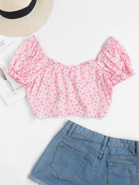 latest ZAFUL Tiny Floral Crop Milkmaid Blouse - LIGHT PINK L Mobile